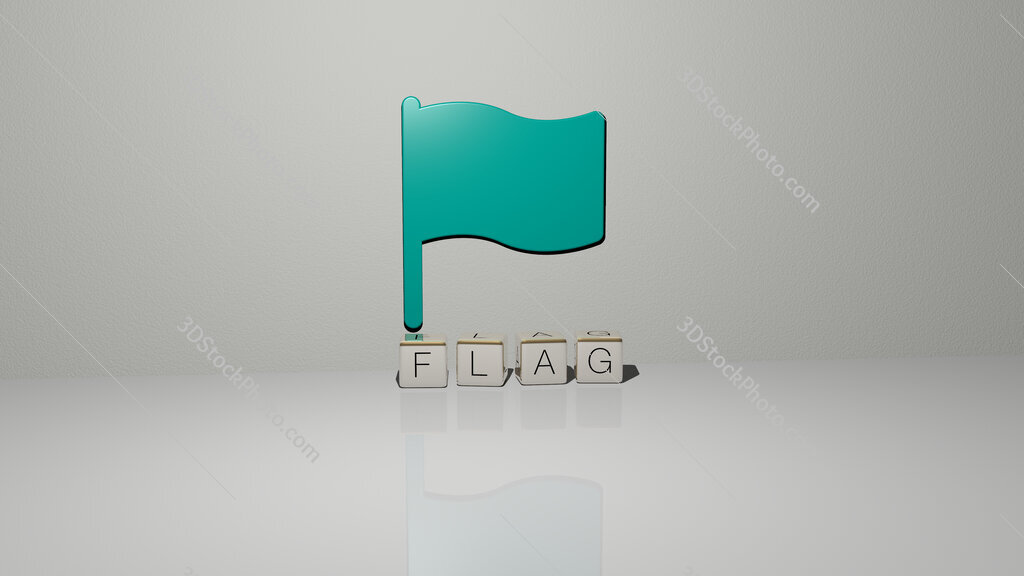 flag text of cubic dice letters on the floor and 3D icon on the wall