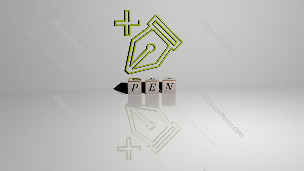 pen text of cubic dice letters on the floor and 3D icon on the wall