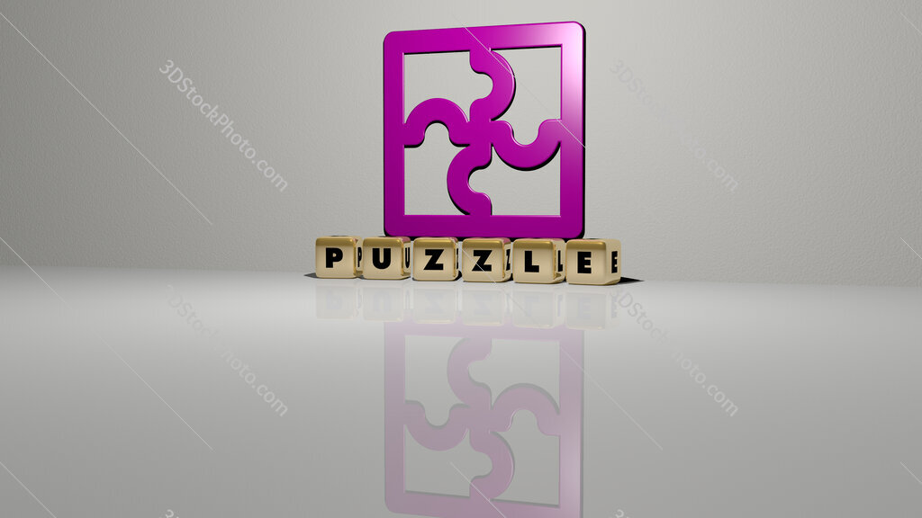 puzzle text of cubic dice letters on the floor and 3D icon on the wall