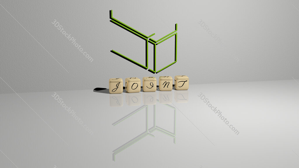 joint text of cubic dice letters on the floor and 3D icon on the wall
