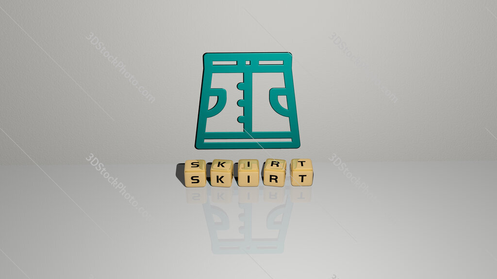 skirt text of cubic dice letters on the floor and 3D icon on the wall