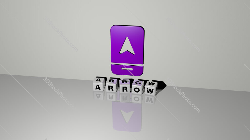 arrow text of cubic dice letters on the floor and 3D icon on the wall