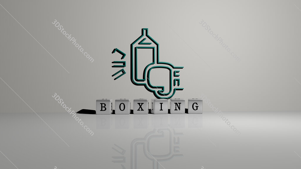 boxing text of cubic dice letters on the floor and 3D icon on the wall