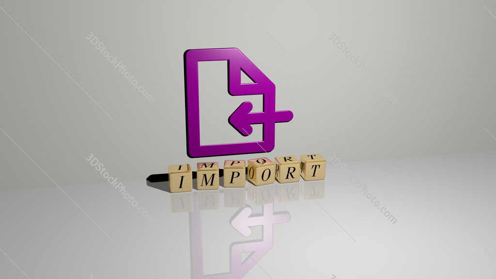 import text of cubic dice letters on the floor and 3D icon on the wall