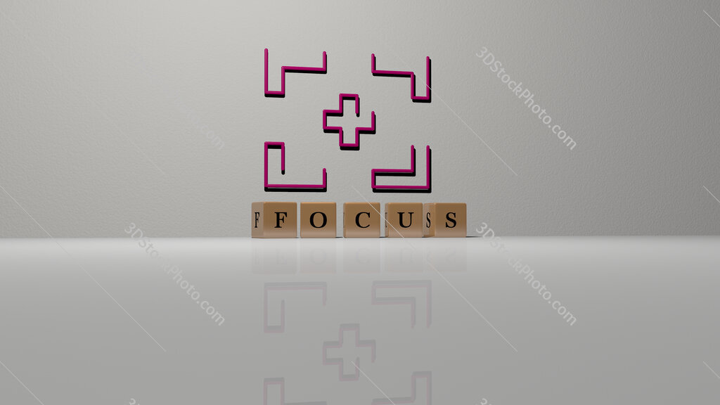 focus text of cubic dice letters on the floor and 3D icon on the wall