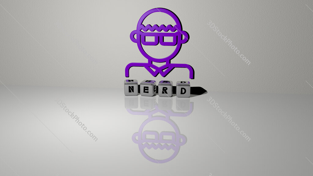 nerd text of cubic dice letters on the floor and 3D icon on the wall