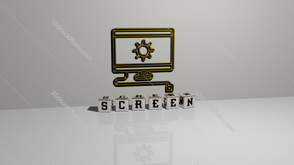 screen text of cubic dice letters on the floor and 3D icon on the wall