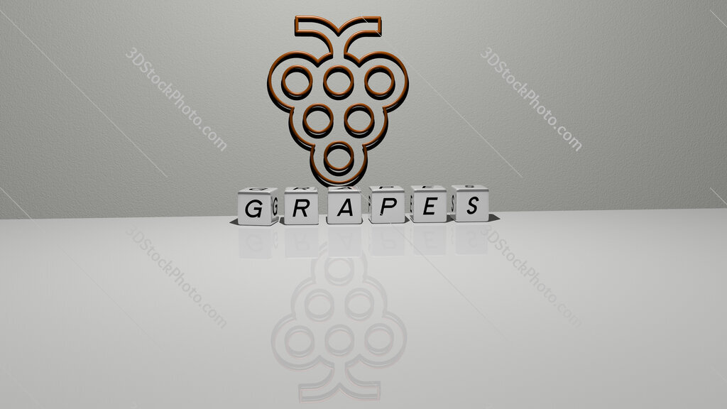 grapes text of cubic dice letters on the floor and 3D icon on the wall
