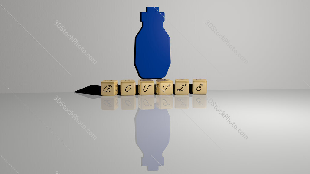 bottle text of cubic dice letters on the floor and 3D icon on the wall