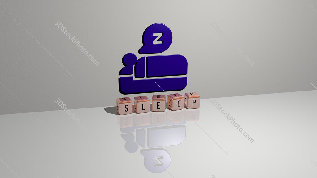 sleep text of cubic dice letters on the floor and 3D icon on the wall