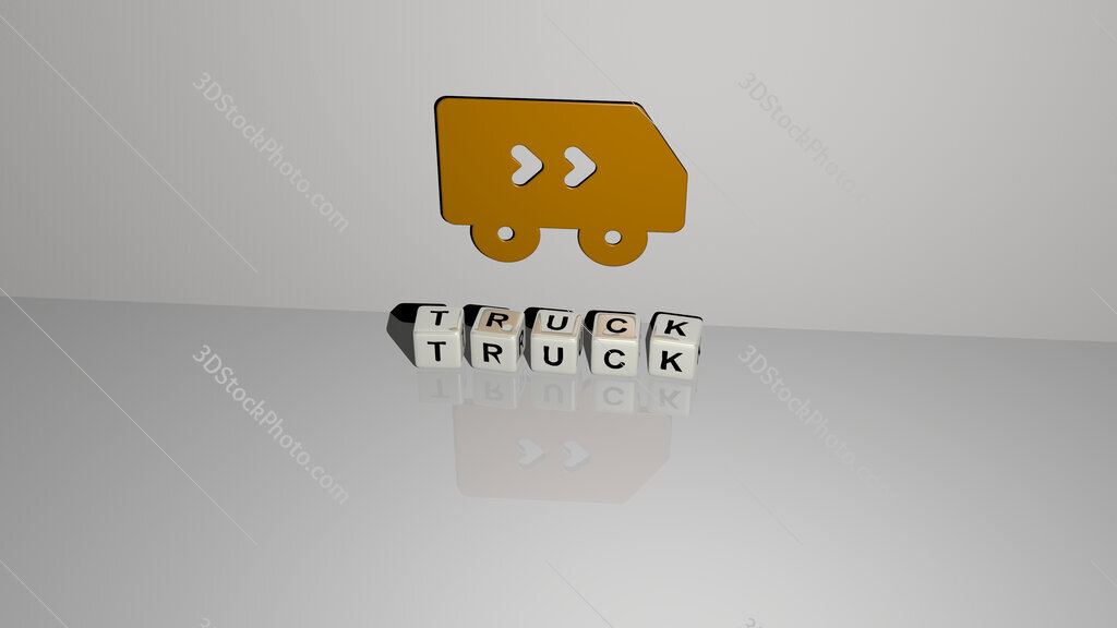 truck text of cubic dice letters on the floor and 3D icon on the wall