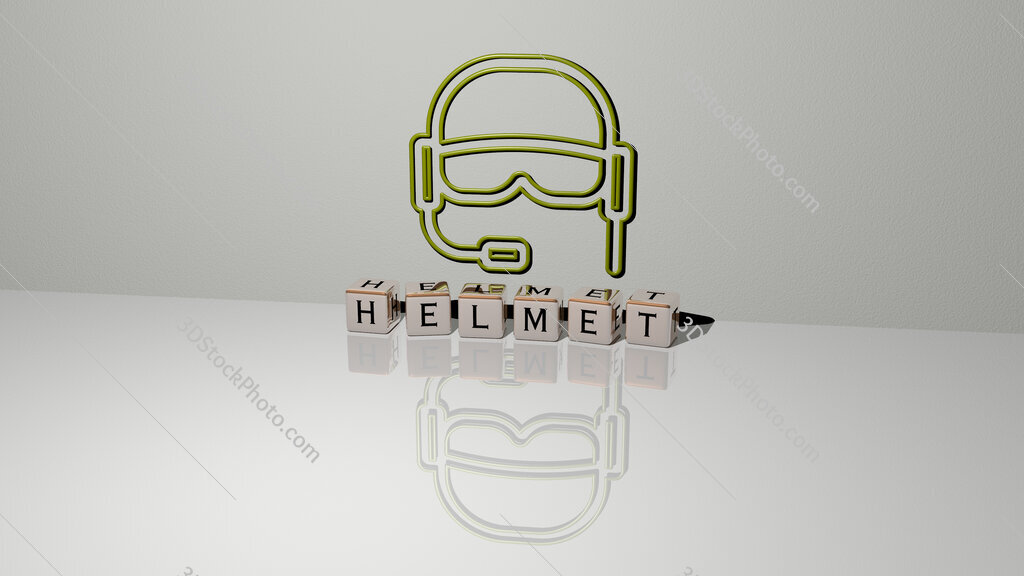 helmet text of cubic dice letters on the floor and 3D icon on the wall