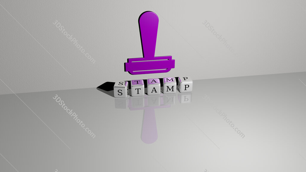 stamp text of cubic dice letters on the floor and 3D icon on the wall