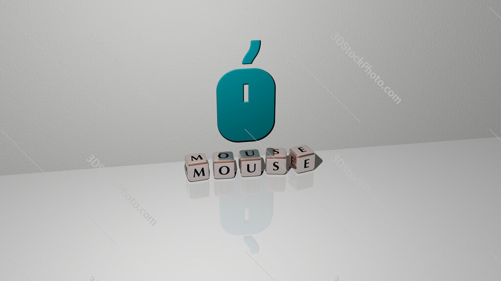 mouse text of cubic dice letters on the floor and 3D icon on the wall
