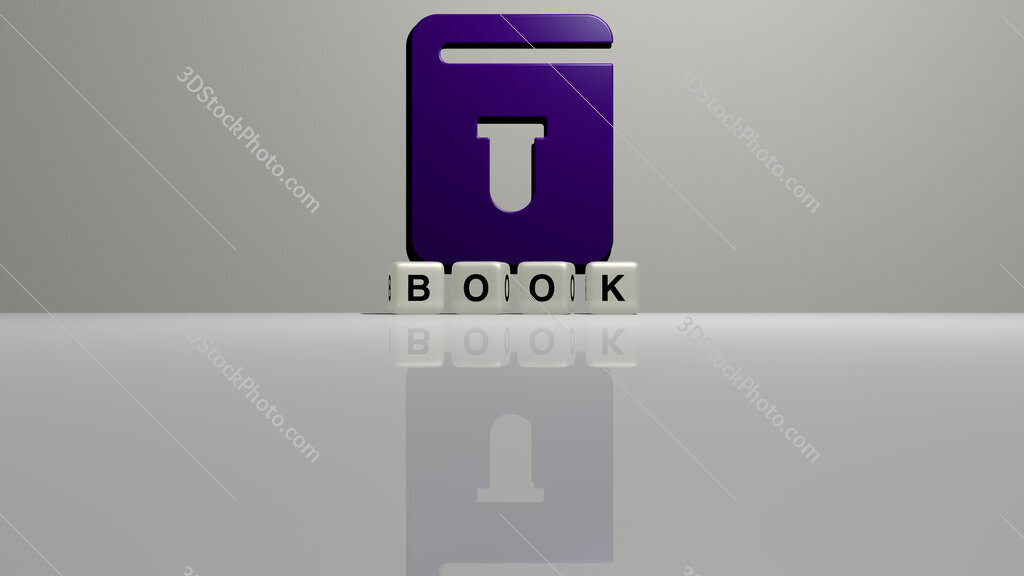 book text of cubic dice letters on the floor and 3D icon on the wall