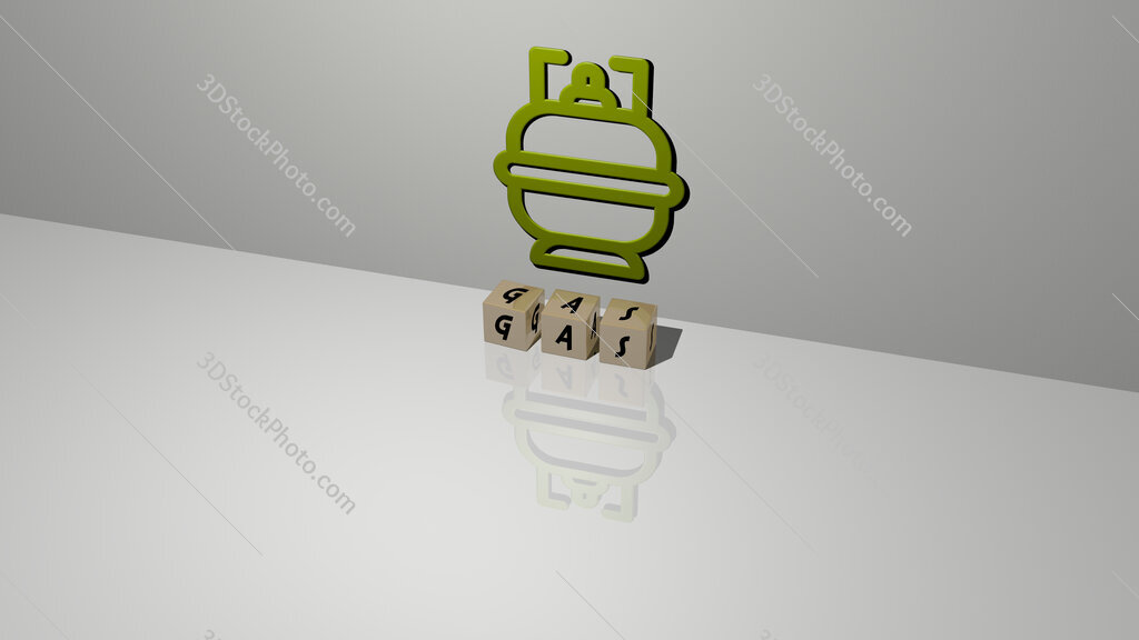 gas text of cubic dice letters on the floor and 3D icon on the wall