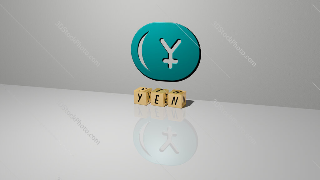 yen text of cubic dice letters on the floor and 3D icon on the wall
