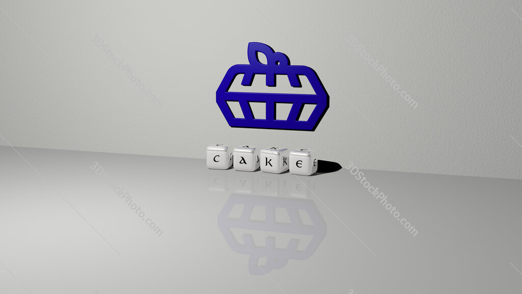 cake text of cubic dice letters on the floor and 3D icon on the wall