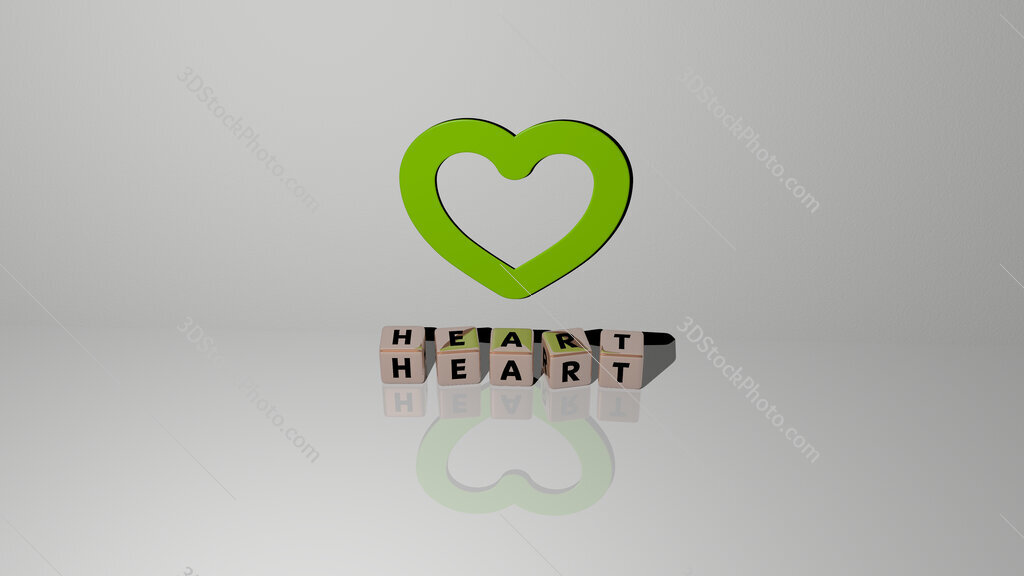 heart text of cubic dice letters on the floor and 3D icon on the wall