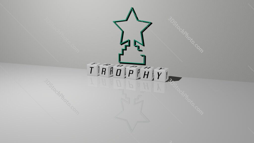 trophy text of cubic dice letters on the floor and 3D icon on the wall