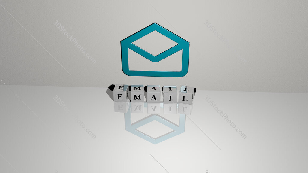 email text of cubic dice letters on the floor and 3D icon on the wall
