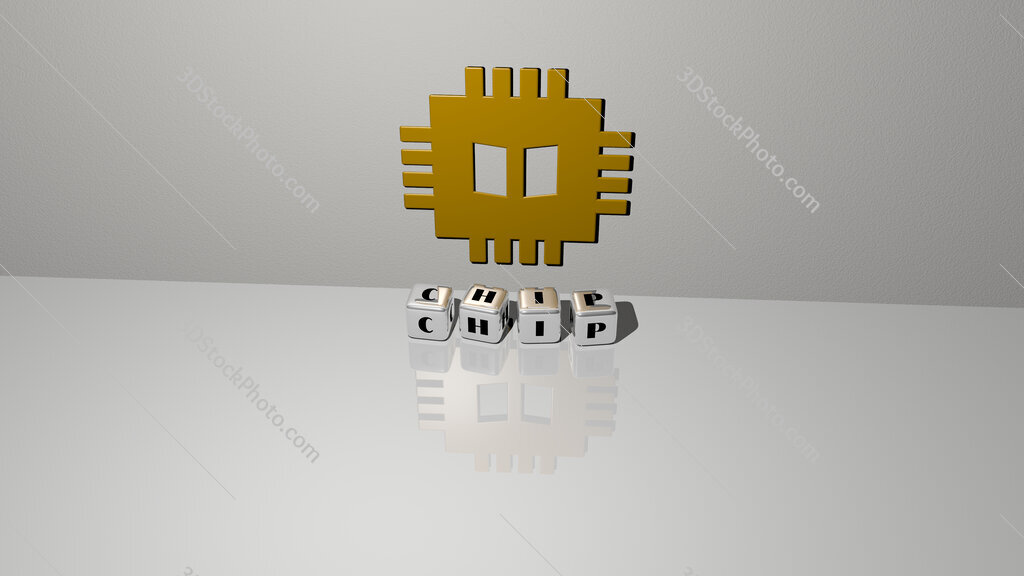 chip text of cubic dice letters on the floor and 3D icon on the wall