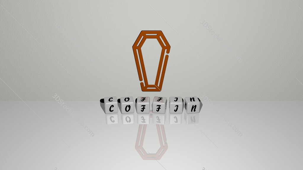 coffin text of cubic dice letters on the floor and 3D icon on the wall