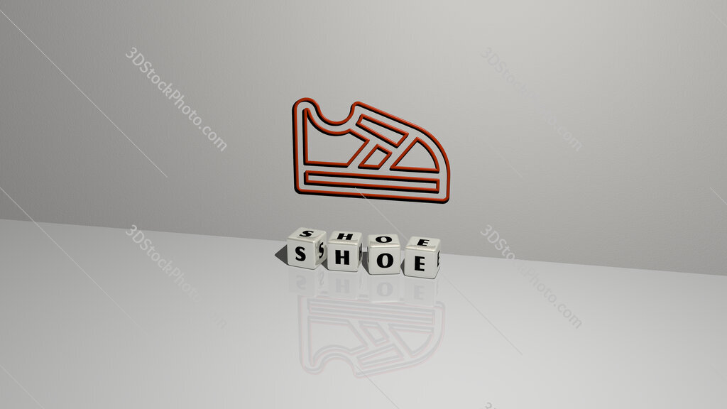 shoe text of cubic dice letters on the floor and 3D icon on the wall