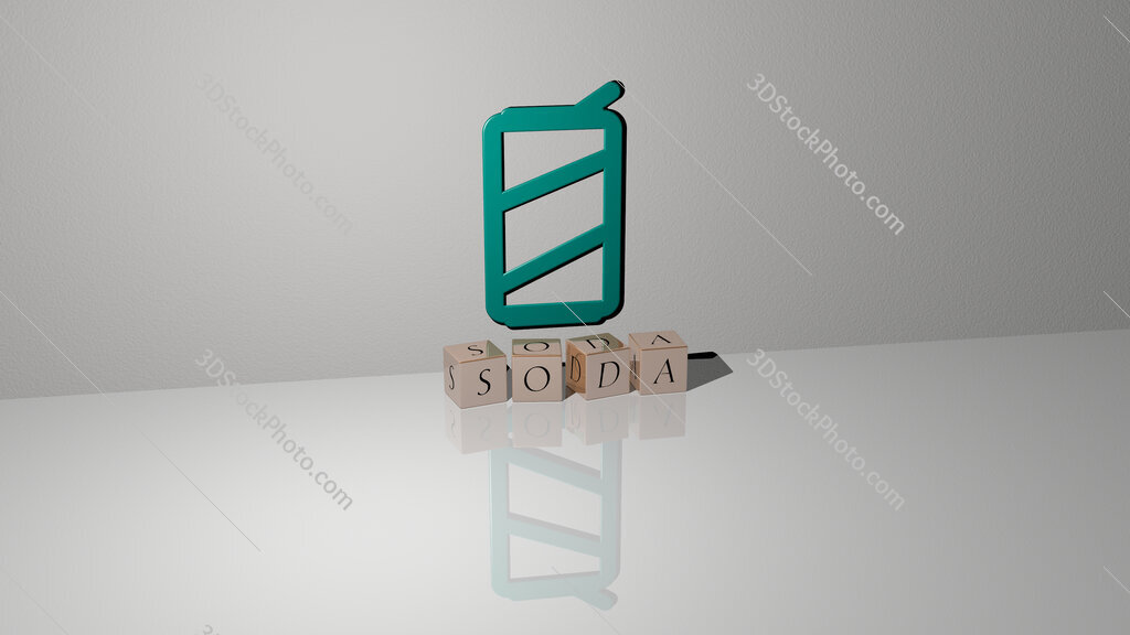 soda text of cubic dice letters on the floor and 3D icon on the wall