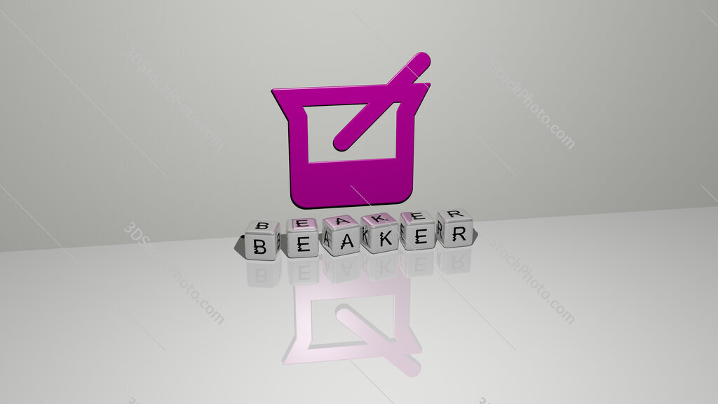 beaker text of cubic dice letters on the floor and 3D icon on the wall