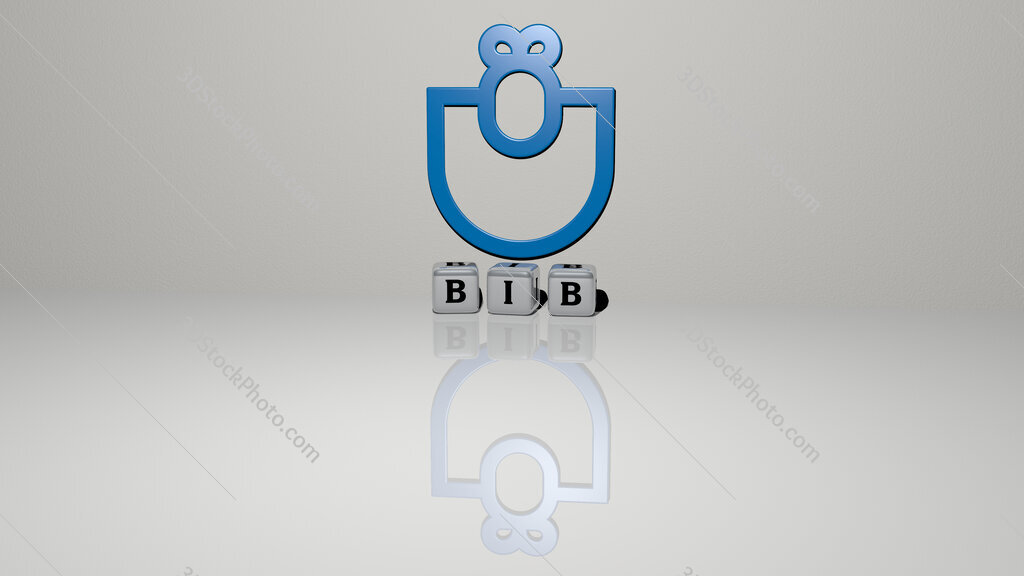 bib text of cubic dice letters on the floor and 3D icon on the wall