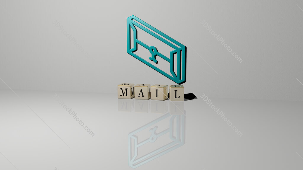mail text of cubic dice letters on the floor and 3D icon on the wall