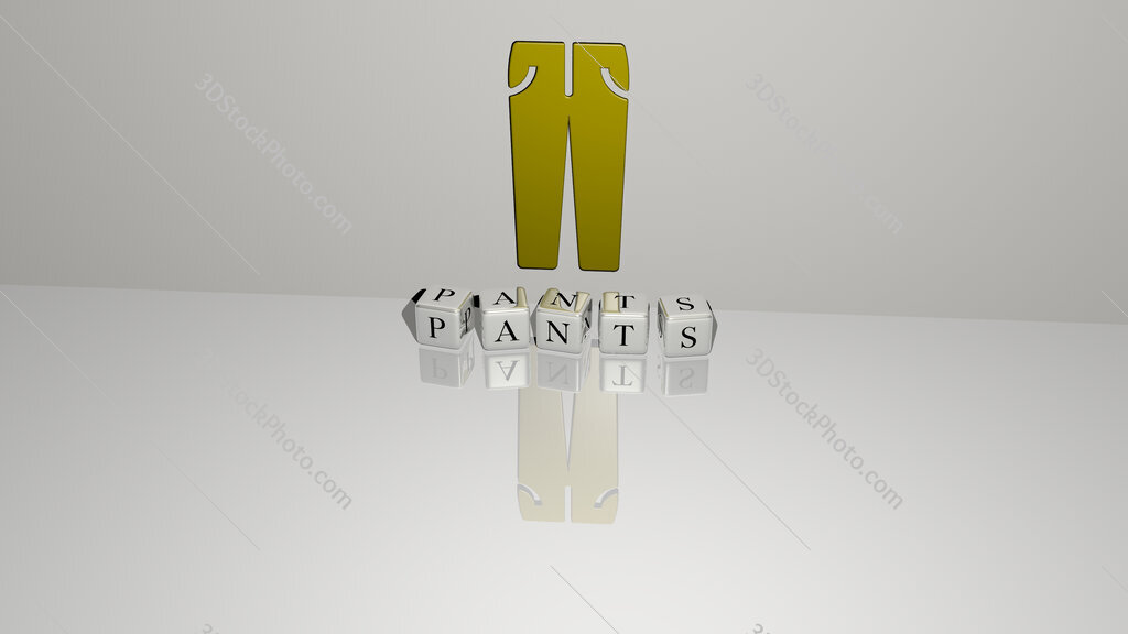 pants text of cubic dice letters on the floor and 3D icon on the wall