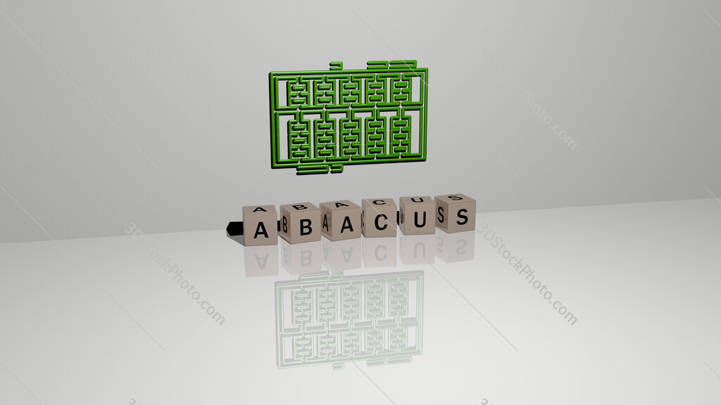 abacus text of cubic dice letters on the floor and 3D icon on the wall