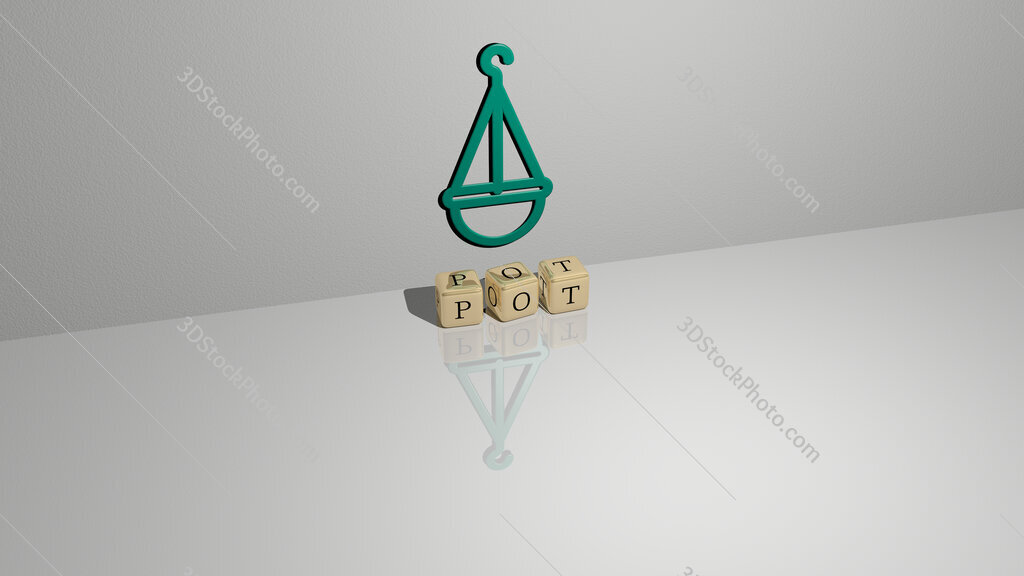 pot text of cubic dice letters on the floor and 3D icon on the wall