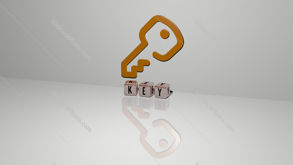 key text of cubic dice letters on the floor and 3D icon on the wall