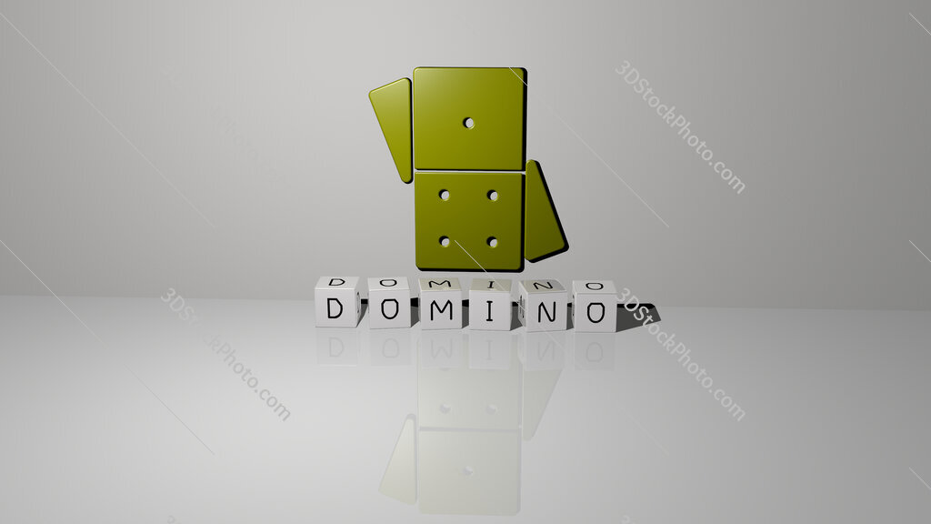 domino text of cubic dice letters on the floor and 3D icon on the wall