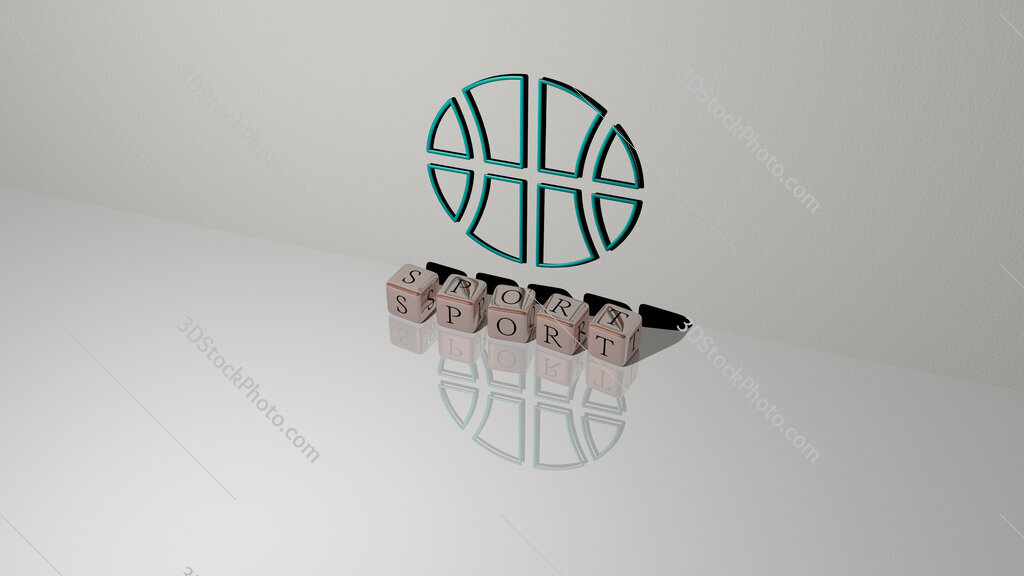 sport text of cubic dice letters on the floor and 3D icon on the wall