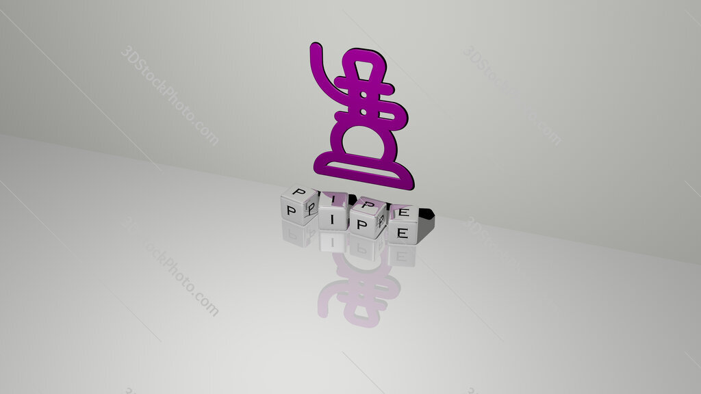 pipe text of cubic dice letters on the floor and 3D icon on the wall