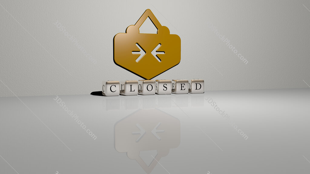 closed text of cubic dice letters on the floor and 3D icon on the wall