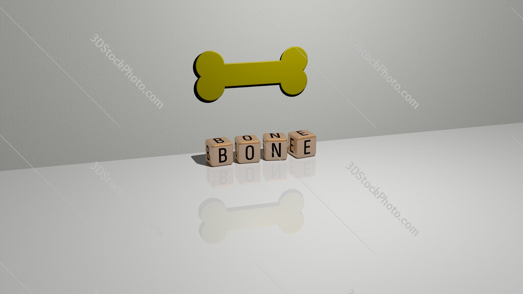 Bone text of cubic dice letters on the floor and 3D icon on the wall