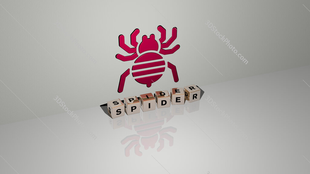 Spider text of cubic dice letters on the floor and 3D icon on the wall