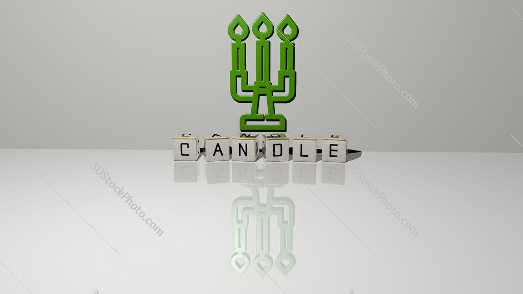 candle text of cubic dice letters on the floor and 3D icon on the wall