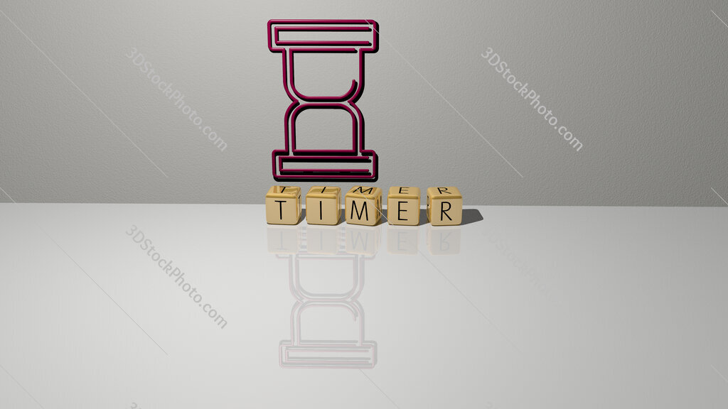 timer text of cubic dice letters on the floor and 3D icon on the wall
