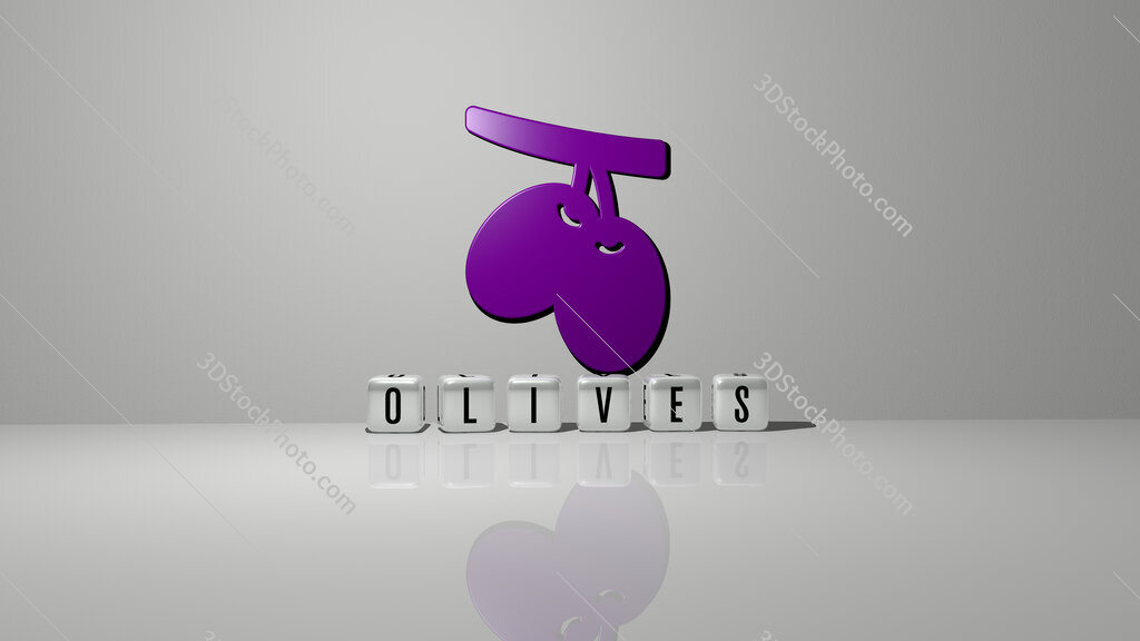 olives text of cubic dice letters on the floor and 3D icon on the wall