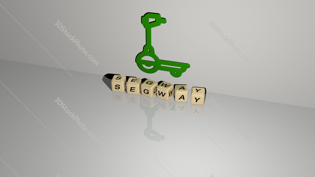 segway text of cubic dice letters on the floor and 3D icon on the wall
