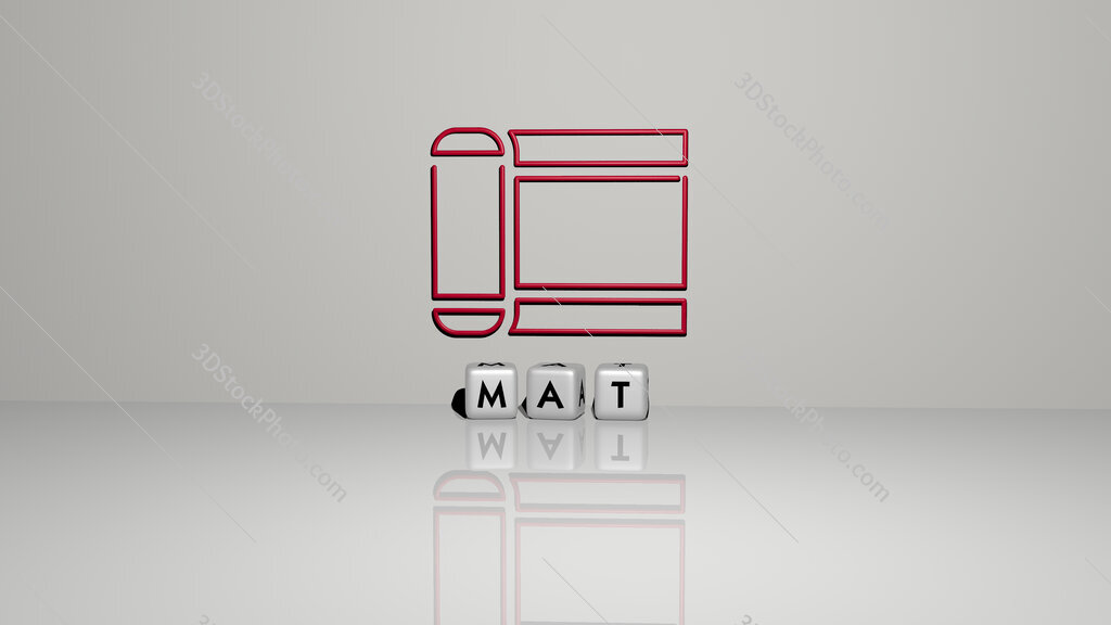 mat text of cubic dice letters on the floor and 3D icon on the wall