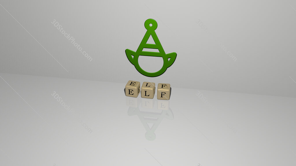 elf text of cubic dice letters on the floor and 3D icon on the wall