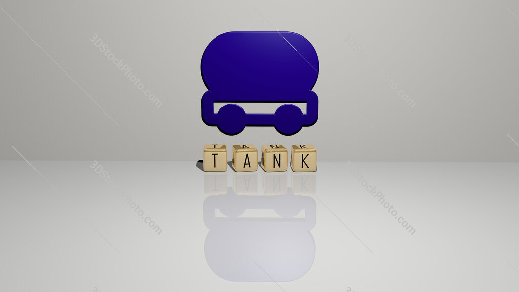 tank text of cubic dice letters on the floor and 3D icon on the wall