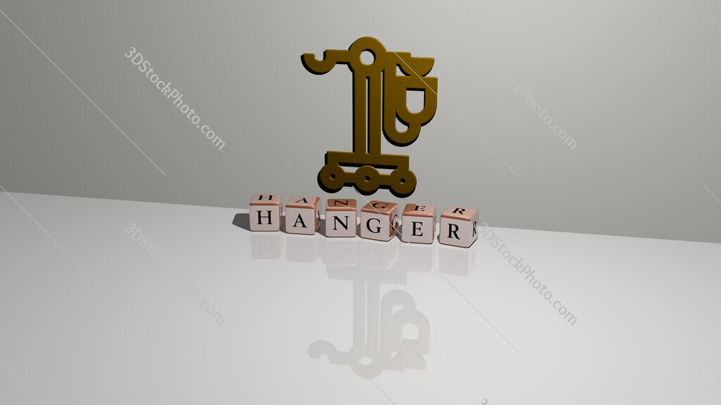 Hanger text of cubic dice letters on the floor and 3D icon on the wall